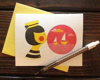 Ship in a Bubble Card - Letterpress