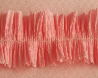 Vintage Crepe Paper Ruffle Trim Peony Pink - Party Wedding Decor - Pink Ruffled Crepe Paper Trim - Valentine Card Craft Supplies - 32 inches