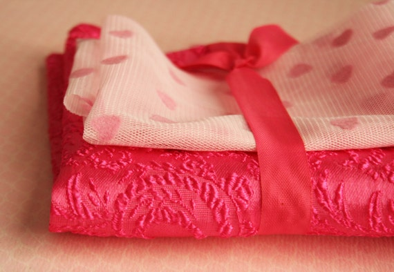 Reserved for Moni...Vintage Valentine Pink Textured Paisley Fabric and Flocked Pink Heart Tulle