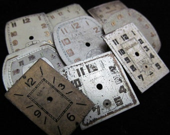 Vintage Antique Watch Dials Steampunk  Faces Parts Altered Art Industrial YZ 66
