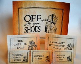 INSTANT DOWNLOAD (Digital) 3 Sizes of Vintage Alice BLANK Food Signs, Antique Background - Mad Hatter in Wonderland Tea