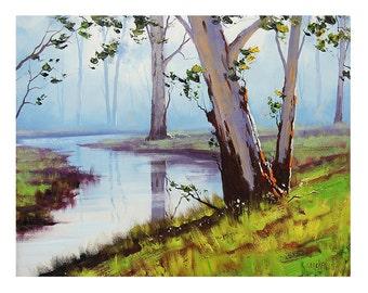 eucalyptus trees Oil Painting  australian river landscape fine art by G.Gercken