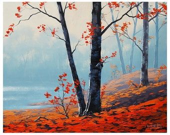 gercken Red AUTUMN OIL PAINTING  fall trees impressionism Misty Art Deco