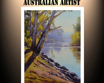 TUMUT RIVER ORIGINAL oil painting australian landscape fine art by g. gercken