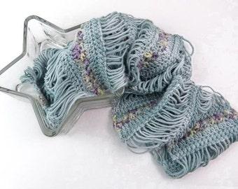 Lightweight Crochet Cowl, Romantic Crochet Infinity Scarf in Pale Blue with Purple & Yellow Flowers - Item 1332
