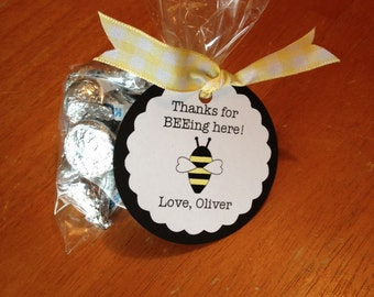 12 Bee Party Shower Favor Bag Tags