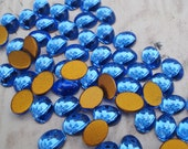 6 Vintage 8x6mm Sapphire Blue Gold Foiled Flat Back Oval Glass Cabs