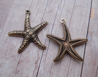 Vintage Inspired 20x23mm Gold Plated Brass Two Sided Starfish Charms (3 pieces)