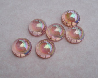 Vintage 14mm 60ss Rose Pink AB Fire Polished Unfoiled Flat Back Round Glass Cabs (4 pieces)