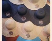 Ladies monogrammed floppy beach sun hat