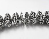 Large bead cap, Silver Plated Floral Cap Antique Silver Plated 13mm  Bead Cap. Pkg of 20 caps..