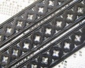Dresden Trim Made In Germany Fancy Black Openwork Paper Lace  DFW 252 BLK