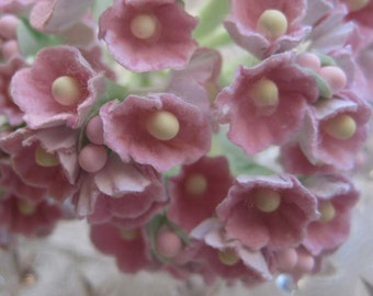 Forget Me Nots in Soft Pink 2 Bouquets Millinery Paper Flowers