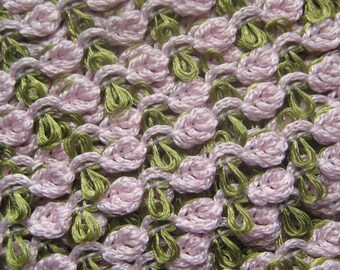 2 Yards Sweet Little Rose Trim Old Store Stock Pale Pink And Sage Green
