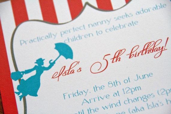 Mary Poppins Carnival Party Invitation Stripe Jolly Holiday Birthday Invitation set of 10 by Belleza e Luce
