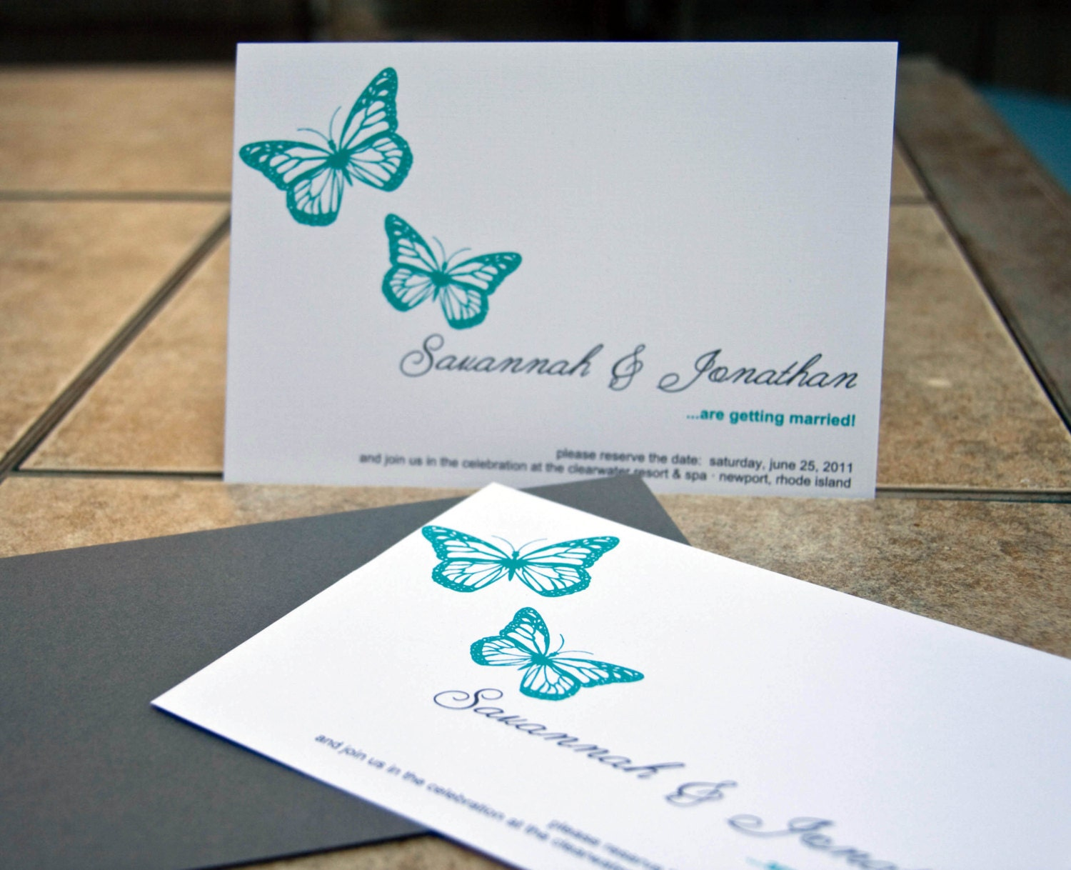 Wedding Butterfly Invitations: Butterflies Wedding Invitation Save The Date : Duo Of