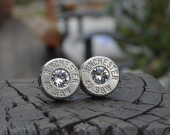 Bullet Earrings stud or post, nickel silver Winchester .40 S&W with Swarovski crystals