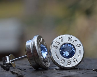 Bullet Earrings stud or post, nickel silver CBC .357 magnum with Swarovski crystals