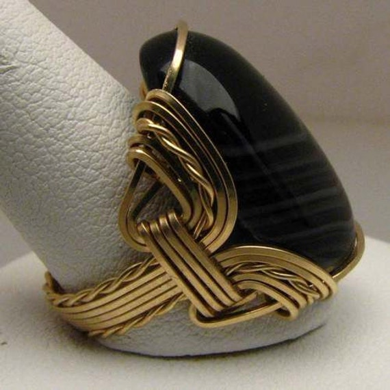 Handmade 14kt Gold Filled Wire Wrapped Vintage Striped Black Onyx Ring