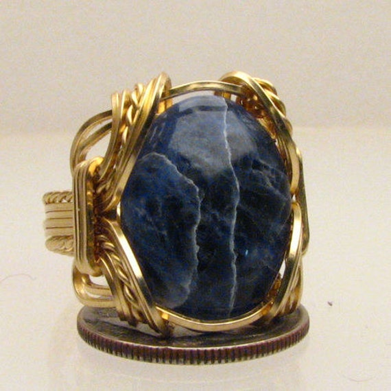Handmade Solid 14kt Gold Wire Wrap Blue Sodalite Ring