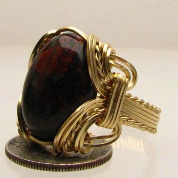 Handmade 14kt Gold Filled Wire Wrapped Poppy Jasper Gemstone Ring