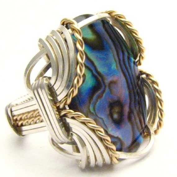 Handmade Wire Wrap Two Tone Sterling Silver/14kt Gold Filled Abalone Ring
