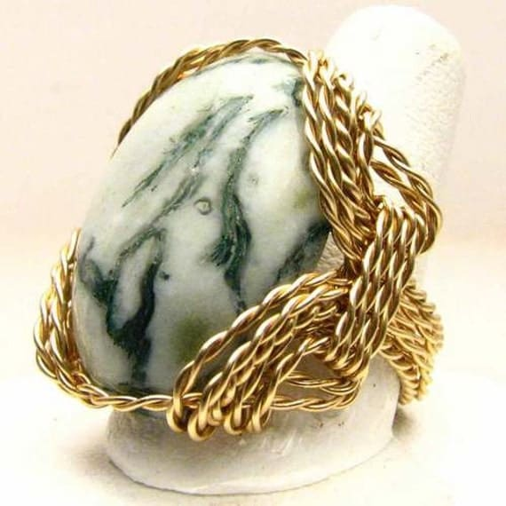 Handmade 14kt Gold Filled Wire Wrap Green Tree Agate Ring