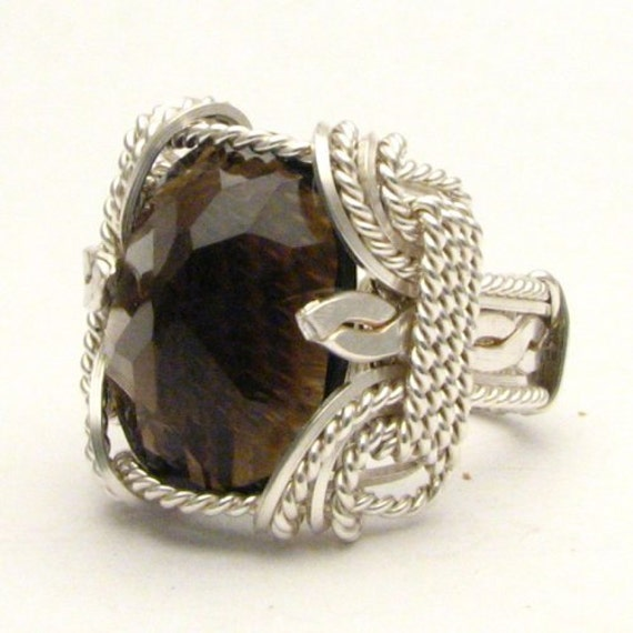 Handmade Sterling Silver Wire Wrap Smoky Quartz Ring