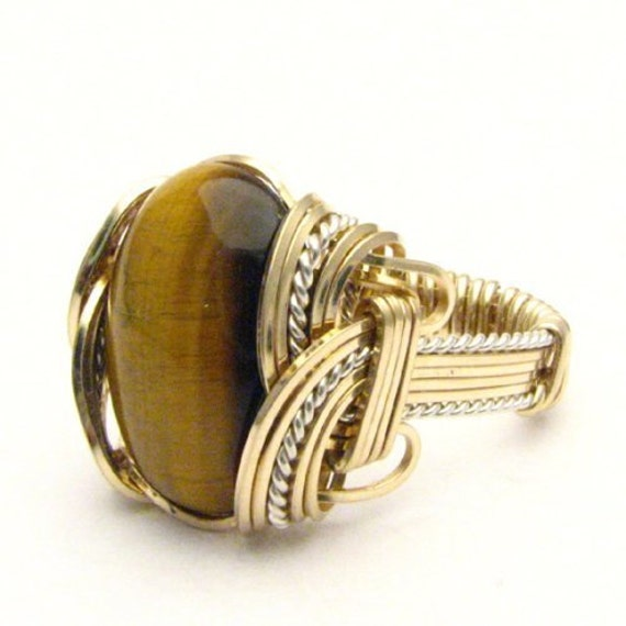 Handmade Wire Wrap Two Tone Sterling Silver/14kt Gold Filled Tiger Eye Agate Ring