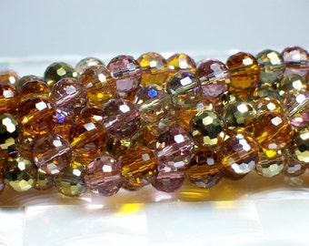 8mm Round/Glass Beads/Amber Glow/color mix/Micro-faceted/Chinese Crystal Glass/strand 26pcs