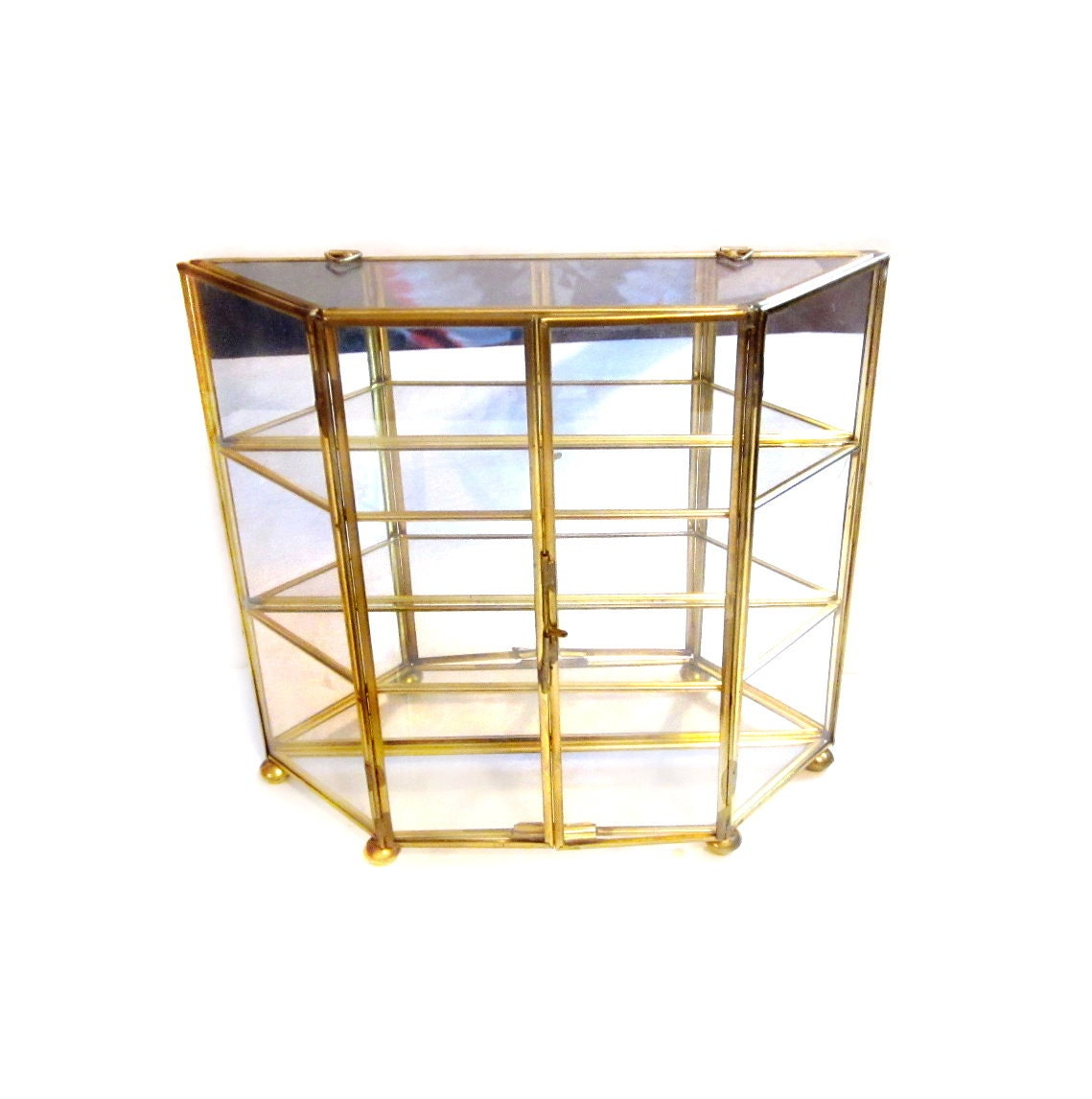 Mirrored brass glass curio display case shelf box for Mirrored box shelves