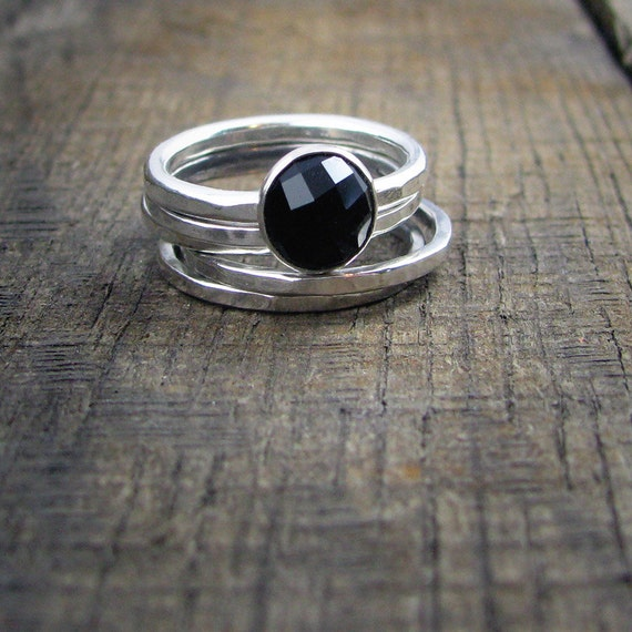 Sterling Stacking Rings - Set of 4 hammered and 1 wide hammered with round faceted Black Onyx - MADE TO ORDER
