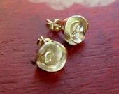 Primrose Earrings Flower Rose Studs in Sterling Silver