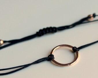 Rose Gold Friendship Bracelet Black Hammered Circle Karma Macrame Slide Knot
