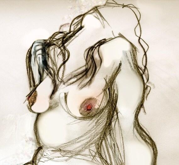 Erotic Art Print, Erotic nudity, Pinup, BBW, Mature - Omi