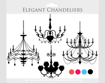 Chandelier clipart - vintage chandeliers clip art, elegant, digital graphics, pink, coral, blue, black, for personal and commercial use