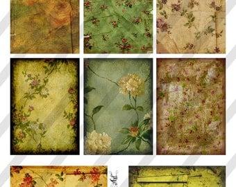 Digital Collage Sheet Vintage Shades of Green Background Images (Sheet no. O74) Instant Download