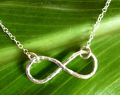 Infinity Necklace, infinity pendant, Fine silver, Hammered Infinity Necklace, Gift For Her