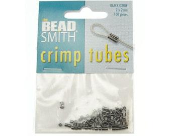 100 2mm Gunmetal Crimp Bead Gun Metal Plated 2mm x 2mm Crimp Tube Bead Gunmetal Findings FB2GM