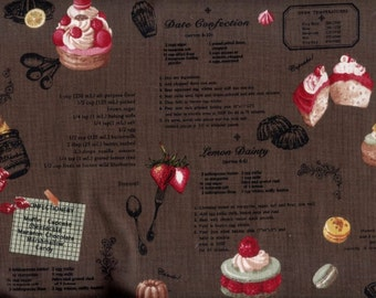 Half Yard Japanese Cotton Fabric Yuwa Recipe Sweets Cake Macaron Macaroon 4 colors to choose