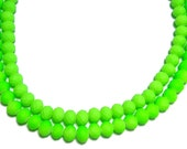 4x6mm Neon Green faceted rubberized rondelle beads 50pcs