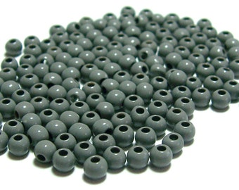 4mm Smooth Round Acrylic Beads in Grey 200 pcs
