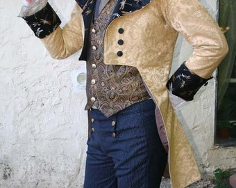 Gold Tapestry and Silk Brocade French Steampunk Wedding Frock Cutaway Coat