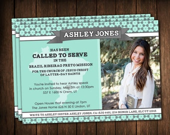 Missionary Announcements - Missionary Cards - aqua/teal