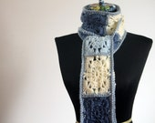 Crochet French Granny Square Fringed Scarf, Dark Blue, Light Blue, Off White