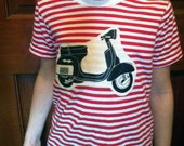 Kid Shirt Mod Scooter Red and White Stripe Shirt with Screenprinted and Appliqued Large Scooter child size 8