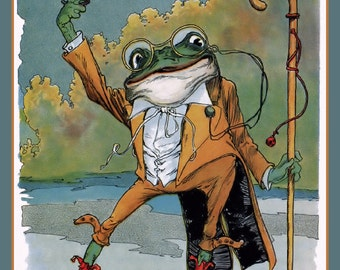 Frog with Top Hat and Cane Refrigerator Magnet