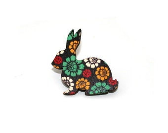 Rabbit Brooch, Easter Bunny, Flower Floral Illustration, Wood Jewelry, Animal Brooch, Woodland