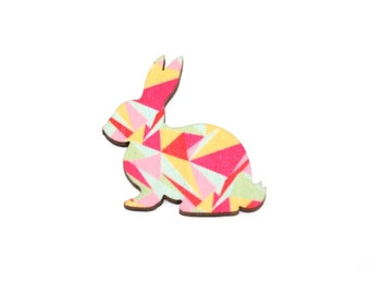 Rabbit Brooch, Easter Bunny, Geometric Illustration, Wood Jewelry, Animal Brooch