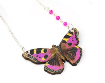Purple Butterfly Necklace, Wooden Butterfly, Illustration Pendant, Asymmetrical Necklace, Animal Necklace, Wood Jewelry
